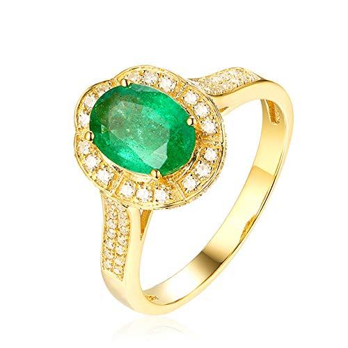 AueDsa Anillos Verde Anillos de Compromiso Mujer Oro Amarillo 18K Oval Esmeralda Verde Blanca 1.01ct Anillo Talla 16