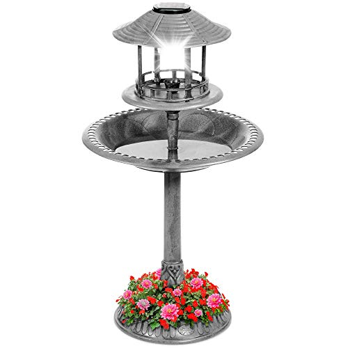 Best Choice Products Solar Outdoor Bird Bath Vintage Resin Pedestal Fountain Decoration for Yard, Garden w/Planter Base, Feeder, Decorative Bird Cage, Fillable Stand - Stone