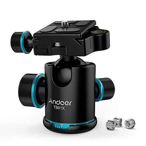 Andoer Mini Kugelkopf Stativkopf 360 Grad Drehbar Panorama-Kugelkopf für Stativ Einbeinstativ Slider DSLR-Kamera mit 3pcs Schraube Adapter