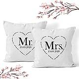 Doppelkissen Kissen 'Mr and Mrs' + Namen oder Datum Personalisiert/Name/Pärchen/Hochzeit/Jahrestag, Design:Design 2, Kissen:Premiumkissen