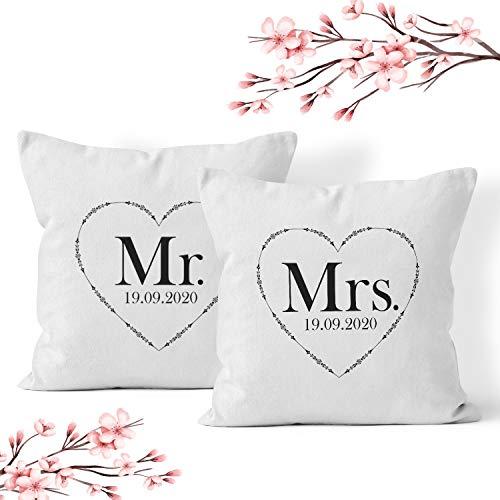 Doppelkissen Kissen 'Mr and Mrs' + Namen oder Datum Personalisiert/Name/Pärchen/Hochzeit/Jahrestag,...