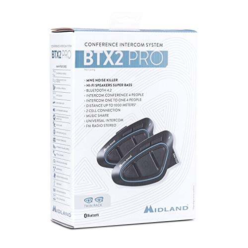 Midland BTX2 PRO Twin Interfono Moto Bluetooth Coppia Impermeabile, Auricolari Casco con Cancellazione del Rumore per Comunicazione Moto a Moto fino a 1 km - 2 Auricolari