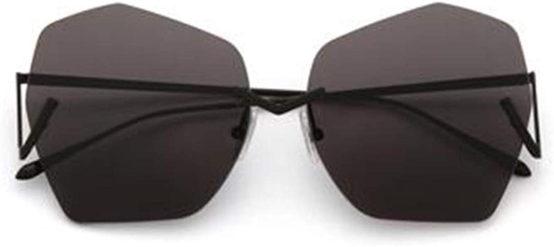 Women's Sunglasses Irregular Frameless Lens Unique Metal Hinge Retro Fashion Trend Black