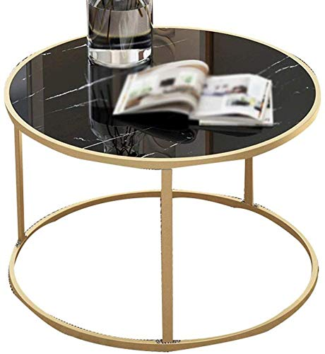 QTQZDD marmeren tafel, gestructureerd, tijdschriftenrek voor kantoor, kleine ronde tafel, sterke en robuuste salontafel, eettafel voor hotel, kleur: A, maat: 6038 cm 3 3