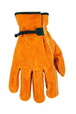 Custom Leathercraft Split Cowhide Drivers Gloves with Tape and Ball Close