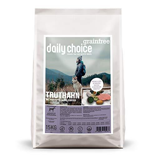 daily choice grainfree - 15 kg - Trockenfutter für Hunde - getreidefrei - Truthahn mit Kartoffeln und Erbsen - Monoprotein mit Frischfleisch - Enthält Chicorée, Grünlippmuschel und wertvolle Kräuter