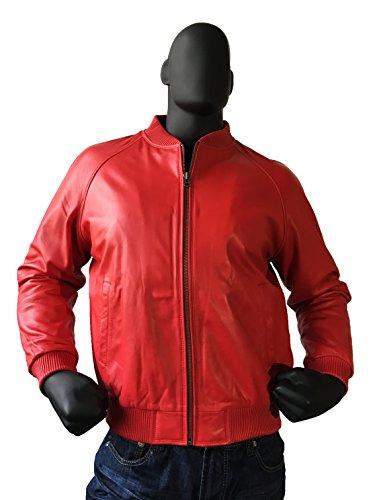 Jakewood Men's Leather Bomber Baseball Varsity Jacket Genuine Lambskin Made in USA (Red, 5X-Large)