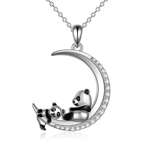 Collar para madre e hija con diseño de panda, plata de ley 925, collar para el día de la madre, esposa, abuela