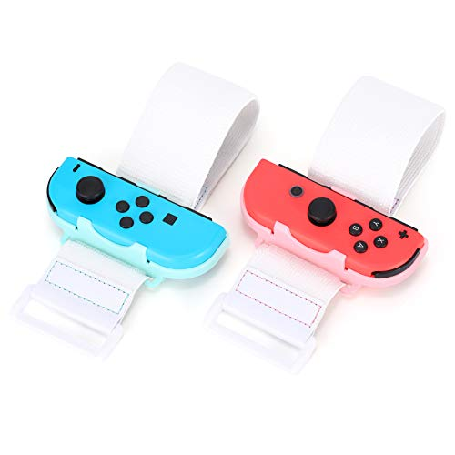 Tscope Wrist Bands Strap for Just Dance 2021 2020 2019 2018 for Nintendo Switch Controller Game, Comfortable Adjustable Elastic Straps for Joy-Cons Controller, 2 Pack for Adults (Pink & Blue)