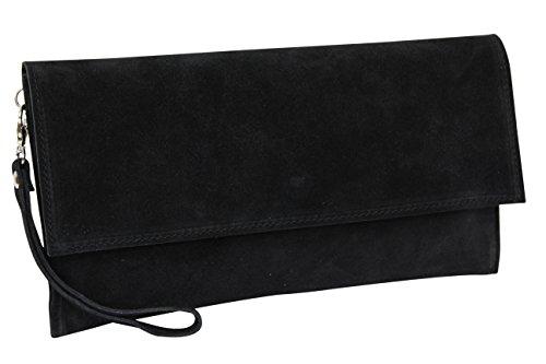 AMBRA Moda Damen Wildleder Clutch Handtasche veloursleder Tasche Handschlaufe WL811 (Schwarz)