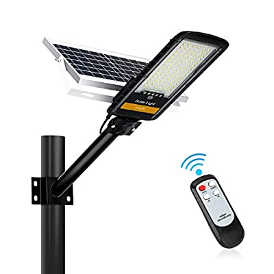 80W Solar Street Lights Outdoor,360 LEDs Dusk to Dawn Solar Led Outdoor Waterproof Light with Remote Control 6500K White Security Led Flood Light for Parking Lot Pathway Yard Road and Garden