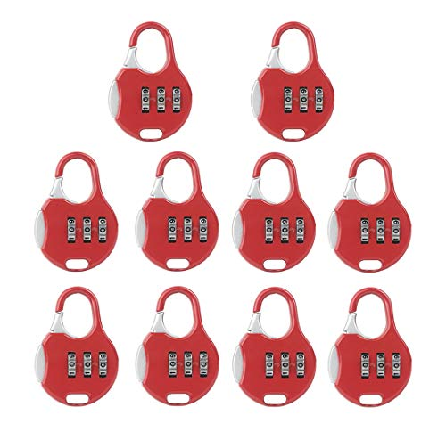 Senmir Password Lock, Lucchetto, Lucchetti per i Bagagli, 3 cifre Combinazione, Blocco di Sicurezza Viaggiare Sicuri, 10 Pezzi