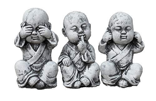 Steinfigur 3er Set Buddha Mönche Nichts sehen, Nichts hören, Nichts Sagen, Frostfest bis -30°C, massiver Steinguss