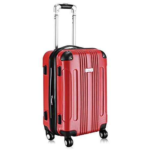 Goplus Expandable Carry On Luggage, 20-inch ABS Hardside Travel Bag, Lightweight Trolley Suitcase with Spinner Wheels