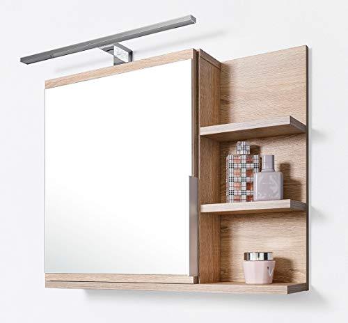 DOMTECH Home Decor Badezimmer Spiegelschrank mit Ablagen und LED Beleuchtung, Badezimmerspiegel, Eiche Sonoma Spiegelschrank, R