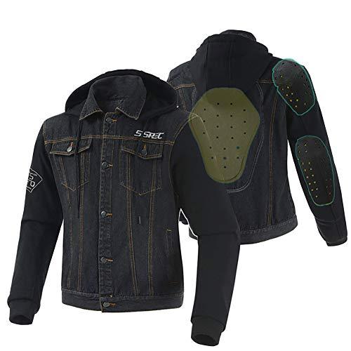 LALEO Personalidad Vaquero Chaqueta de Moto, con Armours Cuatro Estaciones Universales Chaqueta para Motocicleta Negro (S-XXXL),XXXL