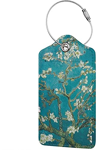 Etiquetas de equipaje de piel sintética con tapa de privacidad completa de acero inoxidable para bolsa de viaje, maleta, flor de almendra, 1 unidad