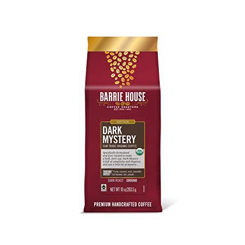 Barrie House Dark Mystery Ground Coffee, 10oz Bag   Fair Trade Organic Certified   Dark Roast   Rich and Smooth Finish  100% Arabica Coffee Beans