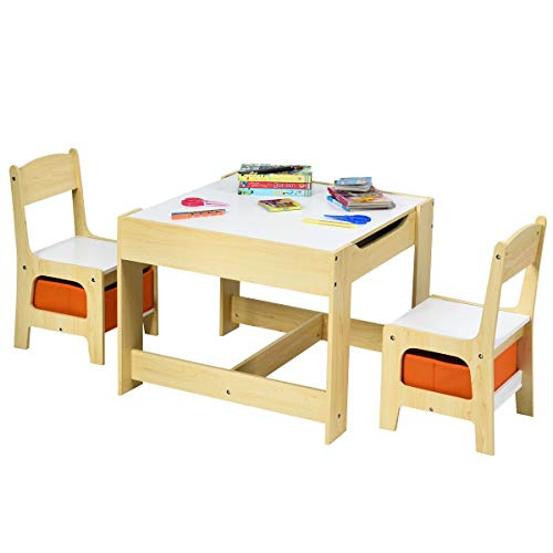 HONEY JOY Kids Table and 2 Chairs Set, 3-in-1 Children Crafts Art Table Desk Set W/Storage Drawer & Box, Convertible Blackboard & Activity Center, 3 Piece Wooden Furniture Set (Yellow)
