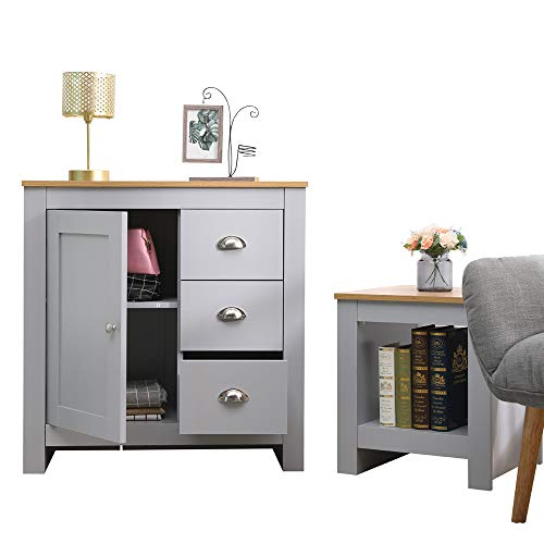 CFDZ CF Furniture Living Room 2 Piece Set Lamp Table 1 Door 3 Drawer Sideboard Free Standing Storage Cabinet Modern Simple Practical Grey+Oak