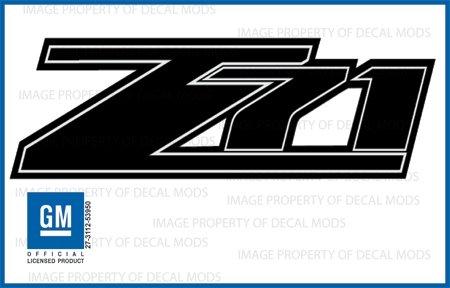 GMC Sierra Z71 Black Blackout Decals Stickers - FBLK (2007-2013) Bed Side 1500 2500 HD (Set of 2)