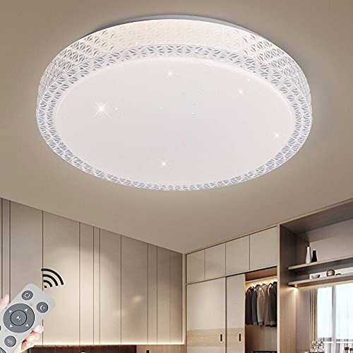 48W Plafoniera LED Design con Stelle Lampada da Soffitto per Soggiorno Camera da letto Cucina Corridoio Balcone Rotonda [Classe di efficienza energetica A+]