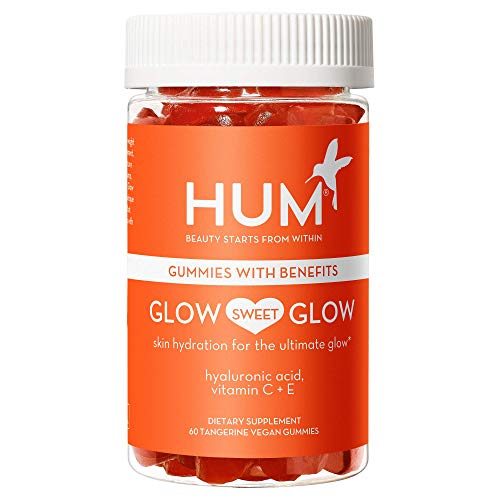 HUM Glow Sweet Glow - Skin Hydration Gummy Hearts Supplement with Hyaluronic Acid, Vitamin C & Vitamin E - Promotes Glowing Skin - Non-GMO & Gluten Free (60 Vegan Tangerine-Flavored Gummies)