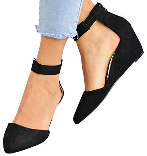 Ankle Strap Sandals Shoes Women Office Sandals Formal Dress Shoes Ziiper Pointed Toe Wedges Sandals by Gyouanime Black