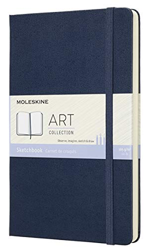 Moleskine Art Sketchbook, Hard Cover, Large (5' x 8.25') Plain/Blank, Sapphire Blue, 104 Pages