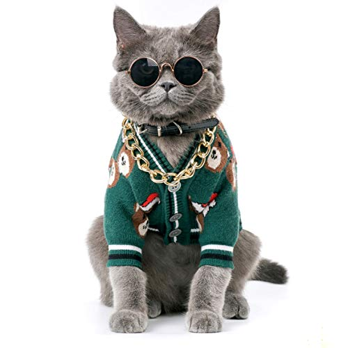 Christmas Pet Sweater for Small Dogs and Cats Winter Warm Sweatshirt Dog Clothes, Pet Accessories. (Greenbear, Small)