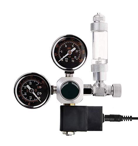 ConPush CO2 Druckminderer,Nachtabschaltung W21.8 Interface mit Magnetventil,2 Manometer und Blasenzähler für Aquarium System