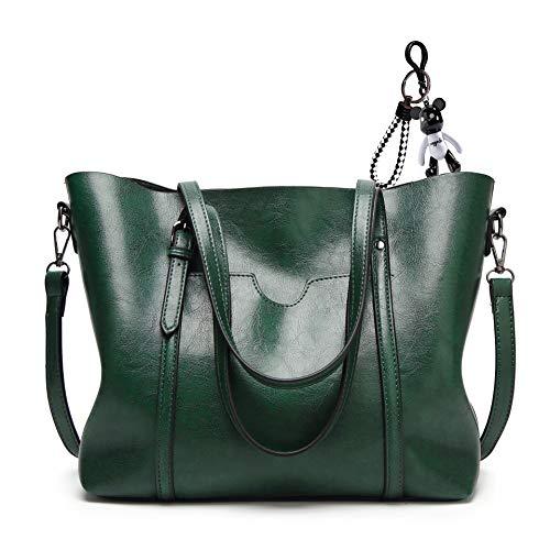 AINUOEY Damen Handtaschen Frauen Schultertaschen Umhängetaschen PU-Leder Bowlingtaschen Schwärzlich Grün
