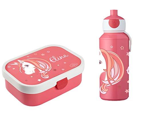 Mein Zwergenland Brotdose Mepal Campus inkl. Bento Box und Gabel + Campus Pop-up Trinkflasche mit Namen Rose, Einhorn Beauty
