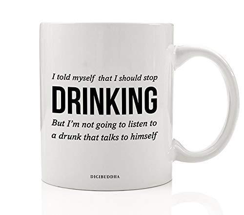 Sarcastische drank mok cadeau-idee kan niet luisteren Dronken praten met zelf stoppen met drinken te veel feesten cadeau voor vriend familie collega Kerstmis Verjaardag 11 Oz keramische koffie theekop