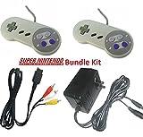 New Super Nintendo SNES Bundle Kit Set 2 Controllers AC Power Adapter AV Cable