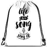 Dingjiakemao Bolsa De Cuerdas para Infantil Bolsas La Vida Es Una Canción Cantarlo Bolsa De Deporte Gimnasio