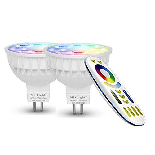 LIGHTEU®, 2x 4W 12V GU5.3 MR16 RGB + CCT LED-Strahler Farbwechsel und CCT WW CW Temperatur einstellbar, original Mi-Light, Glühlampe mit 4-Zonen-Fernbedienung (2xFUT104 + FUT092)