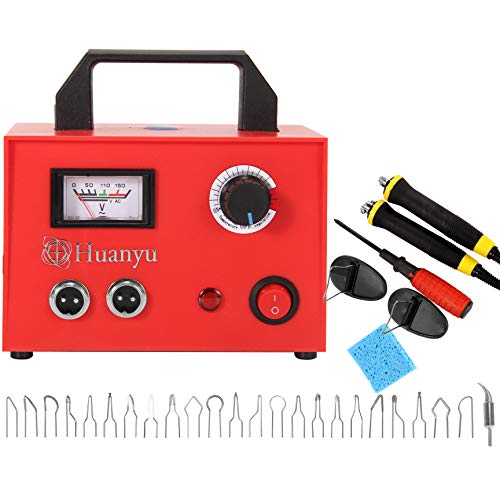 Huanyu Wood Burning Machine Kit 100W Dual Pen Pyrography Machine with Pointer Indicating Temperature Adjustment Multifunction Wood Craft Tool for Soldering Carving Embossing (110V, Package 1)