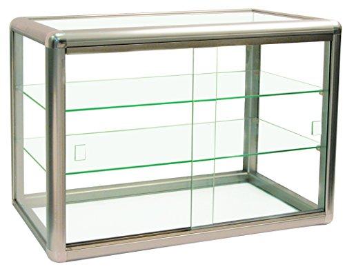 Elegante vitrina de aluminio anodizado con borde de champán y cristal templado Cristal templado con cerradura de llave elegante dorado...