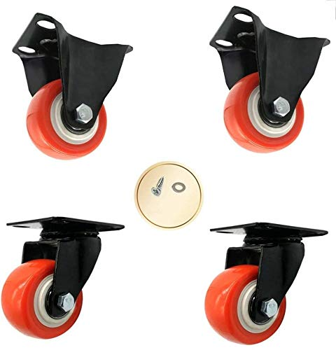 Casters Pack of 4 with Brakes Furniture Industrial Polyurethane Swivel Castor 40/50mm Castor Wheels Capacity 180 Kg (Color : Directional+Swivel, Size : 1.5inch)