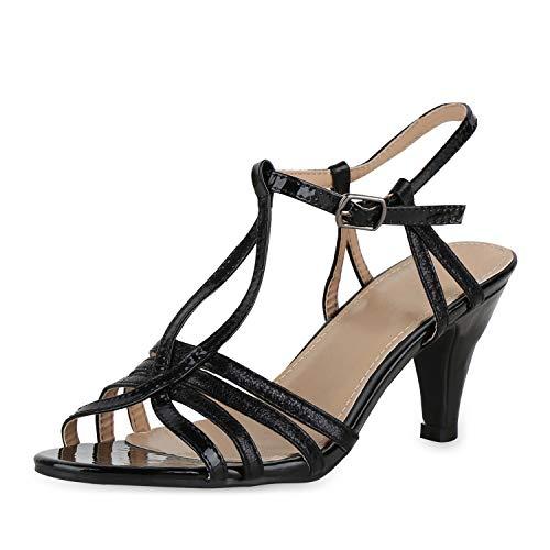 SCARPE VITA Damen Pumps Sandaletten Riemchensandaletten Metallic Party Schuhe Stiletto Elgante 180556 Schwarz Black Lack 37