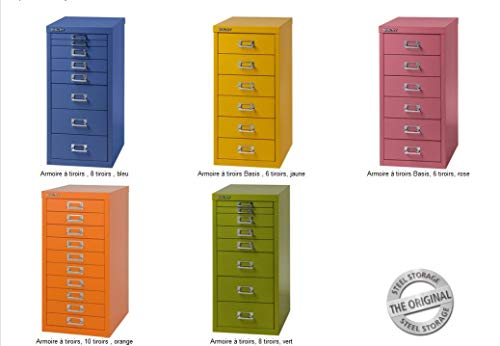 BISLEY MultiDrawer, 39er Serie, DIN A4, 15 Schubladen, Metall, 603 Orange, 38 x 27.9 x 86 cm