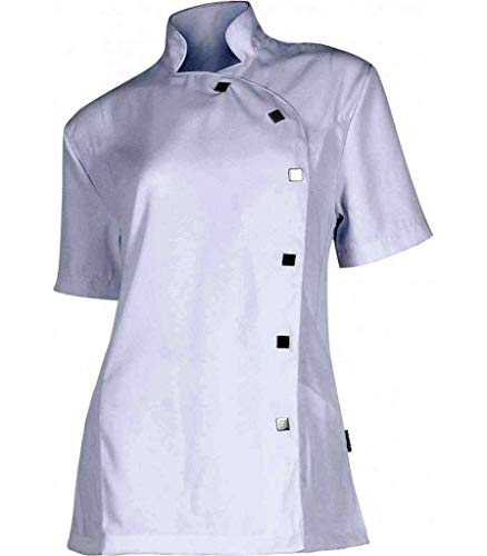 Pijama sanitario. Pijamas sanitarios baratos con tejido antimanchas. Pijama casaca sanitaria entallada en color blanco.