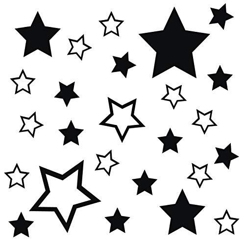 kleb-Drauf® | 25 Sterne | Schwarz - matt | Autoaufkleber Autosticker Decal Aufkleber Sticker | Auto Car Motorrad Fahrrad Roller Bike | Deko Tuning Stickerbomb Styling Wrapping