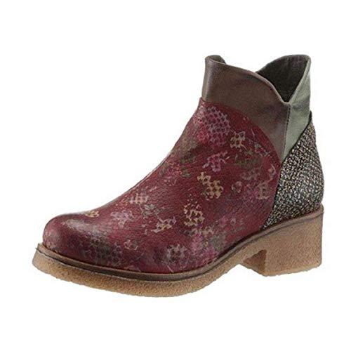 dkode Damen Schuhe Leder Stiefelette Chelsea Stiefel Bordeaux Rot Schuhgröße EUR 36