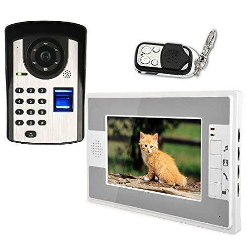 Leo2020 7 inch Intelligent Video doorbell Telephone intercom System doorbell Fingerprint Identification Password Unlock Night Vision Function
