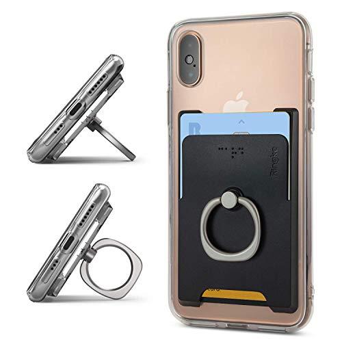 Ringke Ring Slot Card Holder [Black] Delgado Difícil Prima PC Accesorio para Tarjeta de Crédito con el Soporte del Anillo de Dedo Compatible con Funda, Almohadilla y más para Teléfonos Móviles