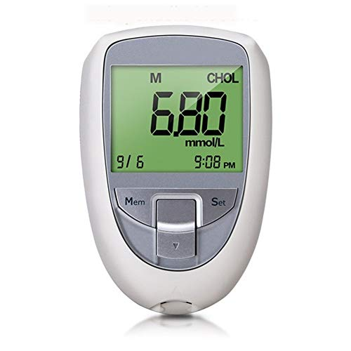 Cholesterol Test 3 in 1 Kit for Home, Cholesterol Monitor Kit 3 in 1 Meter System,Check Digital Cholesterol,Uric Acid and Blood Suger with Large LCD Screen for Home Use (Color : Monitor)