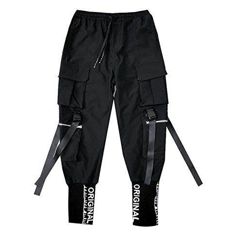 QNONAQ Streetwear Cintas Bolsillos Harem Pantalones Hombres Primavera Verano Pantalones Deportivos Casual Hip Hop Joggers Delgado Ajuste Negro Hombres lápiz Pantalones (Color : Black, Size : X-Small)