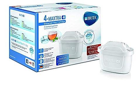 BRITA MAXTRA+ – Pack4filtros para el agua, Cartuchos filtrantes compatibles con jarras BRITA que reducen la cal y el cloro
